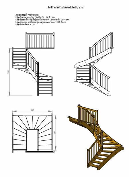 Lépcső terv - Galler lépcső